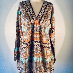 Johnny Was Art Deco l/s v nk blouse size M NWT